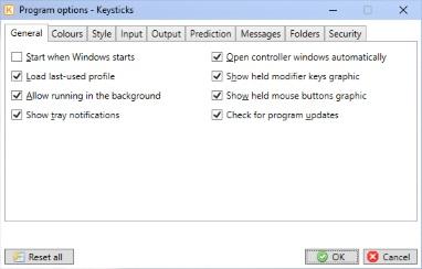 Program options - Keysticks Help